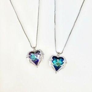 Jewelry - Swarovski Ele. White Gold Crystal Heart Necklace